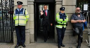 Colm Keaveney pictured leaving Leinster house yesterday after resigning as chairman and member of the Labour Party. Photograph: Aidan Crawley