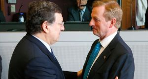 European Commission president Jose Manuel Barroso with Taoiseach Enda Kenny during a meeting on the Multiannual Financial Framework. Photograph: Yves Herman/Reuters