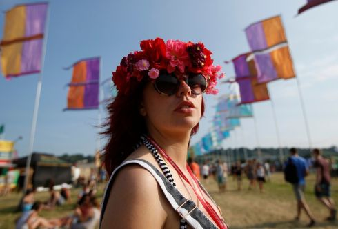 Nicola Deaton (24), pictured on the first day of the festival. Photograph: Olivia Harris/Reuters