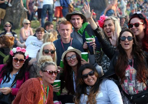 A group of revellers pose for a photograph on the first day of the festival at Glastonbury. Photograph: Matt Cardy/Getty Images