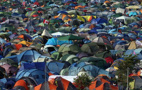 Tents fill the camping fields at the Glastonbury Festival of Contemporary Performing Arts site. Photograph: Matt Cardy/Getty Images