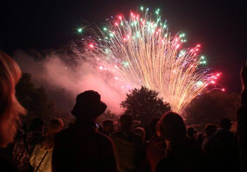 A fireworks display lights up the sky on the first night of the festival. Photograph: Matt Cardy/Getty Images