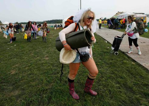 Bride-to-be Lizzie Chapman (23) prepares to celebrate her hen night at the festival. Photograph: Olivia Harris/Reuters