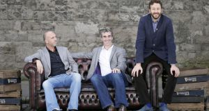 Dylan McGrath, Jim McGuinness and Chris O'Dowd at the launch of Arthur Guinness Projects, a major new cultural initiative that will champion Ireland's talent and creativity. Photograph: Marc O'Sullivan