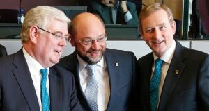 Tanaiste Eamon Gilmore with  European parliament president Martin Schulz and Taoiseach Enda Kenny. Photograph: Yves Herman/Reuters