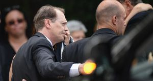 Actor Steve Buscemi attends the funeral. Gandolfini passed away on June 19th, 2013 while holidaying in Rome. Photograph: Mike Coppola/Getty Images