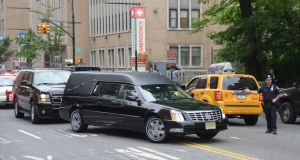 A hearse enters a side entrance at the funeral for actor James Gandolfin at The Cathedral Church of St. John the Divine  in New York City today. Photograph: Mike Coppola/Getty Images