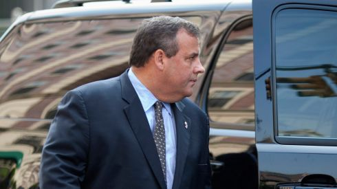 Governor of New Jersey Chris Christie arrives to pay his respects. Photograph: Carlo Allegri/Reuters