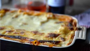 Pork, beef and white wine lasagne. Photograph: Dara Mac Dónaill