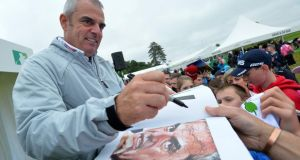Ireland's Paul McGinley signs autographs at a players Q&A during the first round of the Irish Open at Carton House Golf Club today.  Photograph: Mark Runnacles/Getty Images
