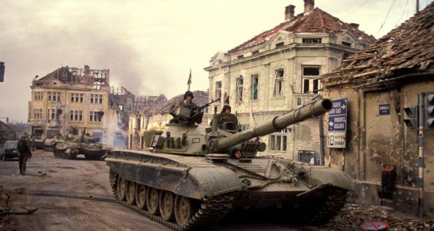 War zone: the siege of Vukovar, in the former Yugoslavia, on November 18
