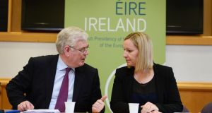 Tánaiste and Minister for Foreign Affairs Eamon Gilmore and Lucinda Creighton, Minister for European Affairs, at a conference at the start of Ireland's presidency. Photograph: Alan Betson