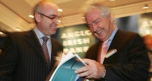 """This is Anglo so there is only one thing to do – party!"" Anglo Irish Bank chief executive David Drumm (left) and chairman Seán Fitzpatrick. Photograph: Alan Betson"