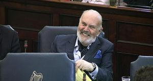 "Senator David Norris addressing the Seanad yesterday.  ""I have never used the services of prostitutes but I have been in a number of brothels for different reasons and have put that on the record,"" he said."