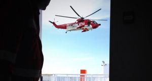 The Coast Guard helicopter was dispatched to the Stena Adventurer ferry. Photograph: Fiona Haughney