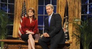 Comedy stalwart: Tina Fey as Sarah Palin (with Will Farrell as President George W Bush) on Saturday Night Live. Photograph: NBC