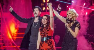 Moment of victory: Andrea Begley with Danny O'Donoghue of The Script, her coach, and Holly Willoughby, one of the presenters. Photograph: Guy Levy/BBC