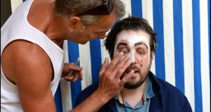 Make-up artist Val Sherlock in the process of creating a clown face for Patrick Freyne in the Ark in Temple Bar. Photograph: Brenda Fitzsimons