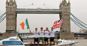 (From left) Gavin Sheehan, James Plumley, Alan Morgan and Josh Taylor after rowing around Britain in a record breaking just over 26 days. Photograph: PA