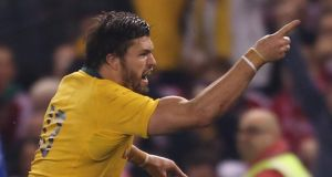 Adam Ashley-Cooper of the Wallabies celebrates after scoring the match-winning try in Melbourne. Photograph:  Scott Barbour/Getty Images
