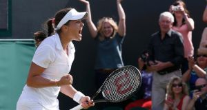 Laura Robson of Britain celebrates after defeating Marina Erakovic of New Zealand. Photograph: Suzanne Plunkett/Reuters
