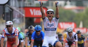 Marcel Kittel of Germany and Argos-Shimano celebrates after winning stage one of the 2013 Tour de France. Photograph:Doug Pensinger/Getty Images