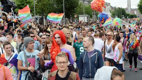 Some of the participants make their way down O'Connell Street. Photograph: Alan Betson /The Irish Times