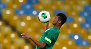 Brazil's  Neymar during a training session in Rio de Janeiro yesterday. Photograph: Sergio Moraes/Reuters