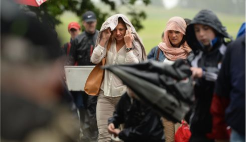 Rain in the afternoon at the final day of The Irish Open, in Carton House, Maynooth, Co. Kildare. Photo: Dara Mac Donaill / THE IRISH TIMES