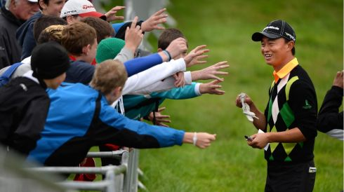 China's Huang Wen-Yi, has some young fans looking for his glove following his round at the final day of The Irish Open, in Carton House, Maynooth, Co. Kildare. Photo: Dara Mac Donaill / THE IRISH TIMES