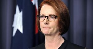 Outgoing Australian prime minister Julia Gillard speaks to journalists following her defeat in the Labor Party leadership ballot in Canberra last Wednesday. Photograph: Mark Graham/Bloomberg