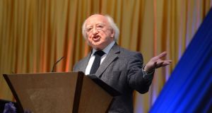 President Michael D Higgins speaking at the Community garden party yesterday at Aras an Uachtarain. Photograph: Cyril Byrne/The Irish Times