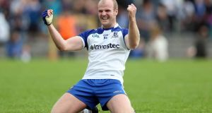 Monaghan's Dick Clerkin shows his delight at the final whistle after victory over Cavan at Clones. Photo: Donall Farmer/Inpho