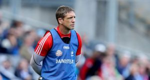 A pensive Kildare manager Kieran McGeeney during the Leinster semi-final at Croke Park yesterday.