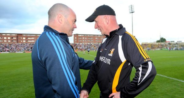 Dublin manager Anthony Daly is congratulated by his  Kilkenny counterpart at the final whistle on Saturday. Photograph: James Crombie/Inpho