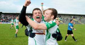 London's Seán Kelly and Danny Ryan celebrate at the final whistle of their Connacht semi-final against Leitrim