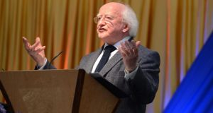 President Michael D Higgins speaking at the Community garden party yesterday at Áras an Uachtaráin. Photograph: Cyril Byrne