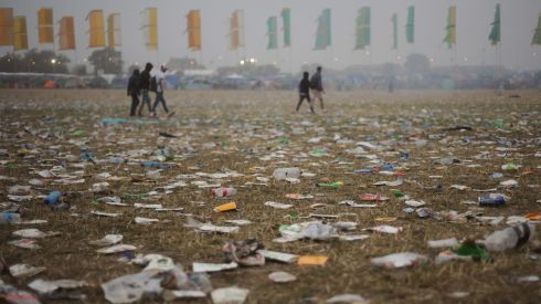 Litter in front of the Other stage at dawn, on the final day of the festival. Photograph: Anthony Devlin/PA Wire