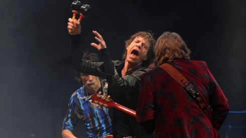 Mick Jagger (centre) from the Rolling Stones performs. Photograph: : Anthony Devlin/PA Wire