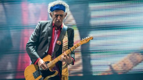 Keith Richards of The Rolling Stones perform on the Pyramid Stage. Photograph: Ian Gavan/Getty Images