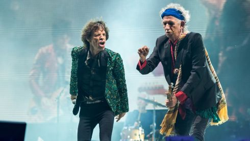 Mick Jagger and Keith Richards of The Rolling Stones perform on the Pyramid Stage. Photograph: Ian Gavan/Getty Images