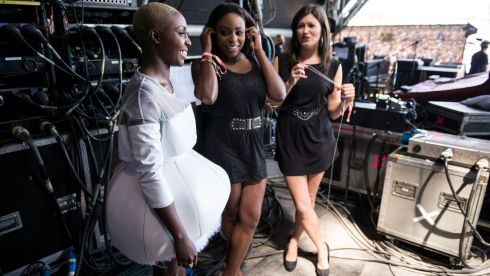 Laura Mvula prepares backstage before performing on the Pyramid Stage. Photograph: Ian Gavan/Getty Images