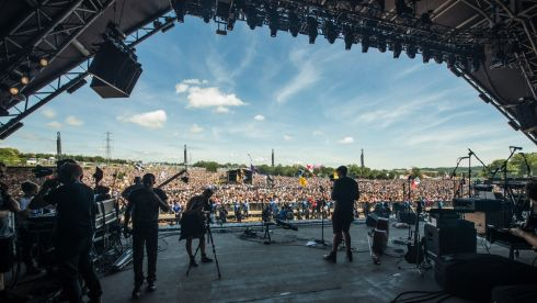General view out from back of the Pyramid Stage during day 3 of the festival. Photograph: Ian Gavan/Getty Images