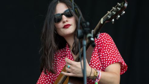 Jessica Staveley-Taylor of 'The Staves' perform on the Other Stage during day 3 of the 2013 Glastonbury Festival. Photograph: Ian Gavan/Getty Images