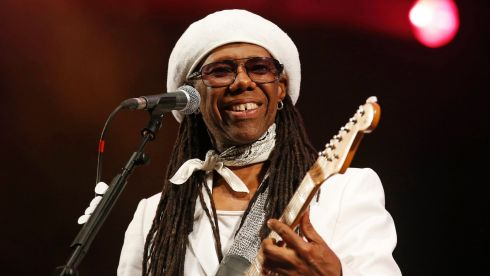 Nile Rodgers performs with his band Chic on the third day of the Glastonbury music festival. Photograph: Olivia Harris/Reuters