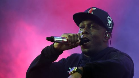 Dizzie Rascal performs on the Pyramid Stage. Photograph: Matt Cardy/Getty Images