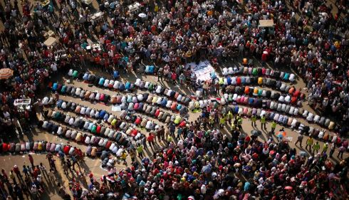 Protesters, opposing Egyptian president Mohamed Morsi, pray during a protest demanding that Morsi resign at Tahrir Square in Cairo. Photograph: Suhaib Salem/Reuters