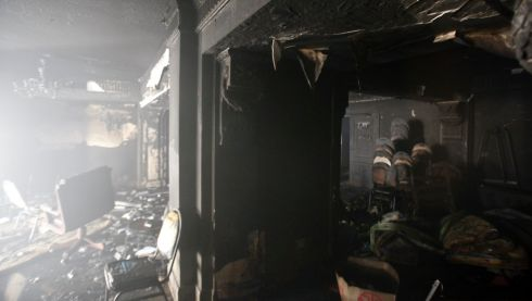 A view of the meeting room at the Muslim Brotherhood's headquarters after it was burned down by protesters. Photograph: Amr Abdallah Dalsh/Reuters
