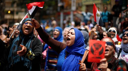 Protesters, opposing Egyptian president Mohamed Morsi, take part in a protest against his rule. Photograph: Suhaib Salem/Reuters
