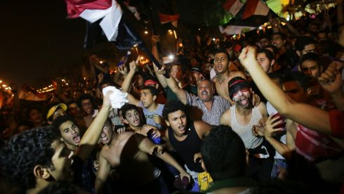 Protesters demonstrate against Egyptian President Mohammed Morsi near the Presidential Palace in Cairo. Photograph: Tara Todras-Whitehill/The New York Times